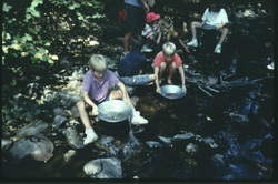 students gold panning